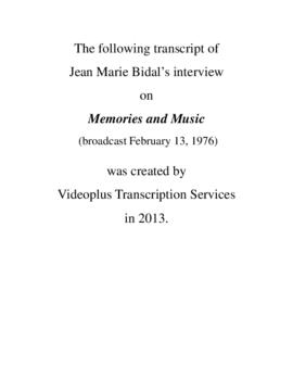 Transcript of Jean Marie Bidal's Interview on Memories and Music