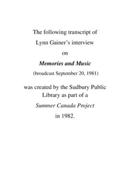 Transcript of Lynn Gainer's Interview on Memories and Music