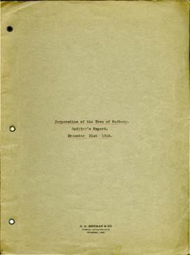 Corporation of the Town of Sudbury Auditor's Report December 31st 1925