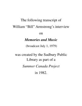 Transcript of Bill Armstrong's Interview on Memories and Music