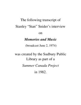 Transcript of Stan Snider's Interview on Memories and Music