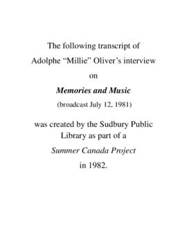 Transcript of Milly Oliver's Interview on Memories and Music