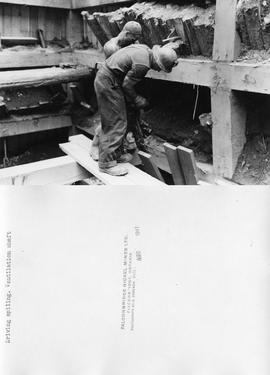 Driving spiling. Ventilation shaft - FALCONBRIDGE NICKEL MINES LTD. FALCONBRIDGE, ONTARIO PHOTOGRAPH BY-A. CAMERON DATE: AUG 1941