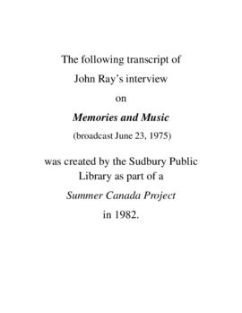 Transcript of John Ray's Interview on Memories and Music
