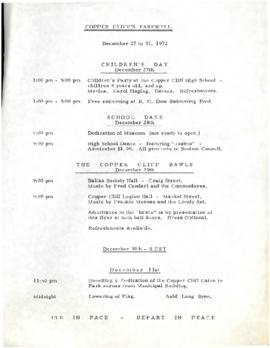 Copper Cliff's Farewell December 27 to 31, 1972