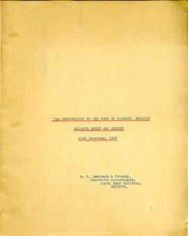 The Corporation of the Town of Sudbury, Ontario Balance Sheet and Report 31st December, 1927
