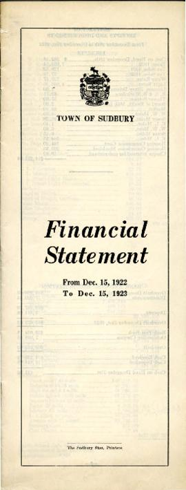 Financial Statement of the Town of Sudbury From Dec. 15, 1922 to Dec. 15, 1923