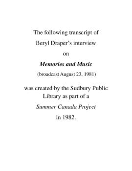 Transcript of Beryl Draper's Interview on Memories and Music