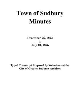 Typed Transcript of the Town of Sudbury Minutes 1892-1896