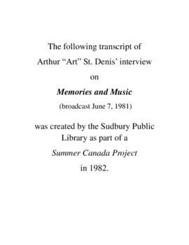 Transcript of Art St. Denis' Interview on Memories and Music