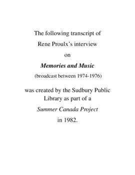 Transcript of Rene Proulx's Interview on Memories and Music