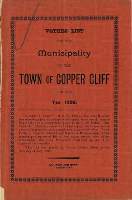 Voters' List, 1902, Municipality of the Town of Copper Cliff, District of Nipissing