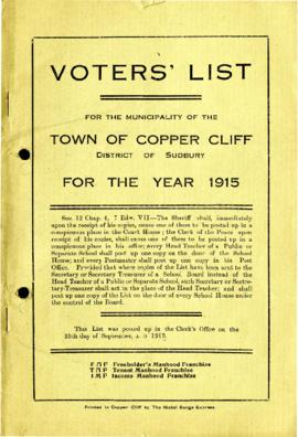 Voters' List, 1915, Municipality of the Town of Copper Cliff, District of Sudbury