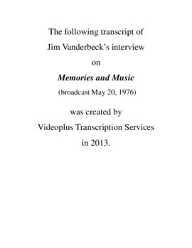 Transcript of Jim Vanderbeck's Interview on Memories and Music