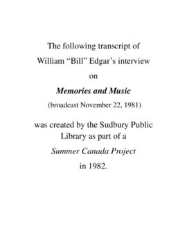 Transcript of Bill Edgar's Interview on Memories and Music