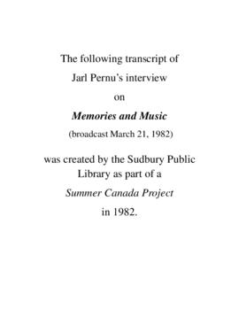 Transcript of Jarl Pernu's Interview on Memories and Music