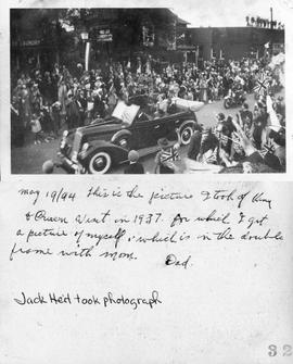 May 19/94 this is the picture I took of King & Queen Visit in 1937 for which I got a picture ...