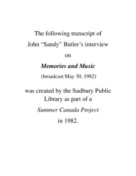 Transcript of Sandy Butler's Interview on Memories and Music