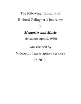 Transcript of Richard Gallagher's Interview on Memories and Music
