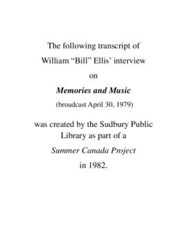 Transcript of Bill Ellis's Interview on Memories and Music