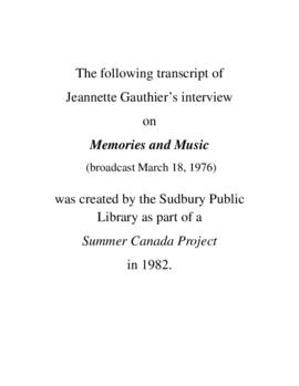 Transcript of Jeannette Gauthier's Interview on Memories and Music