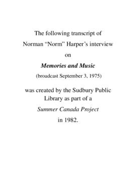 Transcript of Norm Harper's Interview on Memories and Music
