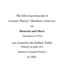 Transcript of Barney Hamilton's Interview on Memories and Music
