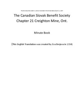 English Translation of Canadian Slovak Benefit Society Branch 21 Minute Book