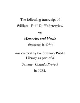 Transcript of Bill Ruff's Interview on Memories and Music