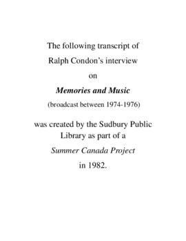 Transcript of Ralph Condon's Interview on Memories and Music