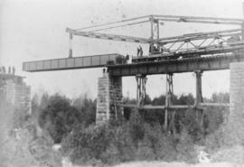 Building the Grand Trunk Railway bridge at Rockwood