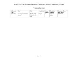 City of Guelph Sewerage Committee minutes