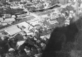 Aerial view - Baptist Church on fire