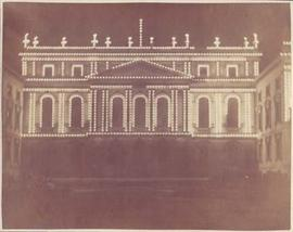 Photograph of Osgoode Hall illuminated for Royal Visit