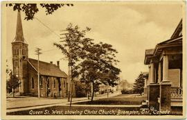 Queen St. West, showing Christ Church, Brampton, Ont., Canada